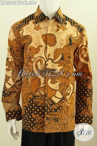 Toko Online Pakaian Batik Terlengkap, Sedia Kemeja Batik Elegan Halus Kombinasi Tulis Model Lengan Panjang Full Furing Harga 290K [LP8298BTF-XL]
