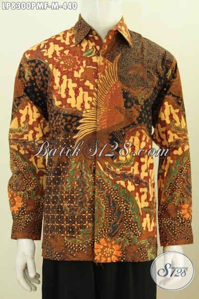 Jual Kemeja Batik Solo Halus Lengan Panjang, Hem Batik Premium Full Furing Motif Klasik Kombinasi Tulis Tampil Percaya Diri [LP8300PMF-M]