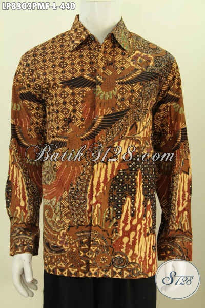 Jual Busana Batik Kwalitas Premium Proses Kombinasi Tulis, Baju Batik Terkini Untuk Pria Sukses Model Lengan Panjang Full Furing 400 Ribuan [LP8303PMF-L]