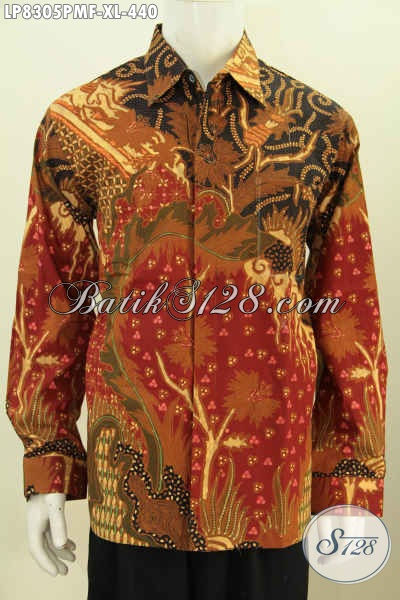 Baju Hem Batik Solo Halus Lengan Panjang Pake Furing, Pakaian Batik Terkini Khas Jawa Tengah Daleman Pakai Furing Untuk Penampilan Lebih Istimewa [LP8305PMF-XL]