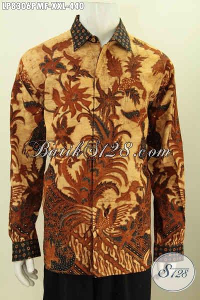 Jual Kemeja Lengan Panjang Big Size, Baju Batik Mewah Kombinasi Tulis Full Furing, Pria Gemuk Terlihat Gagah, Ukuran XXL