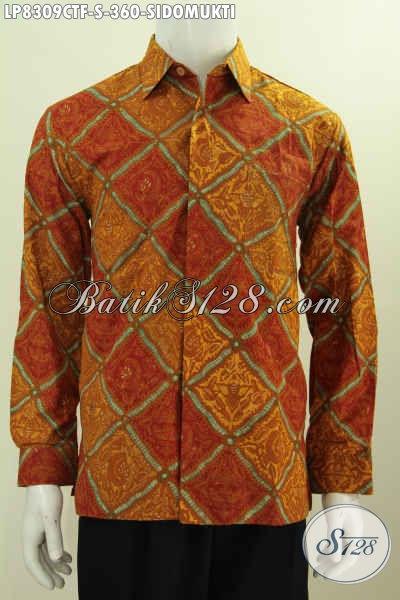 Hem Lengan Panjang Klasik Full Furing, Baju Batik Elegan Pria Muda Motif Sidomukti Proses Cap Tulis Harga 360K [LP8309CTF-S]