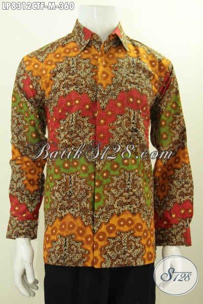 Batik Hem Pria Size M, Kemeja Batik Lelaki Muda Lengan Panjang Mewah Motif Klasik Cap Tulis 360K
