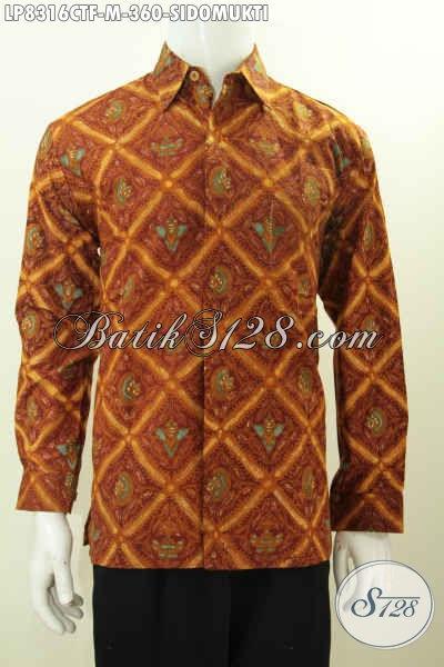 Baju Batik Halus Mewah Lengan Panjang Proses Cap Tulis, Kemeja Batik Klasik Full Furing Motif Sidomukti Buatan Solo Asli Harga Terjangkau [LP8316CTF-M]
