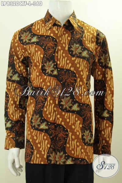 Hem Batik Lengan Panjang Untuk Rapat, Baju Batik Solo Halus Proses Cap Tulis Motif Klasik Bahan Adem Lengan Panjang Pakai Furing Hanya 360K [LP8320CTF-L]