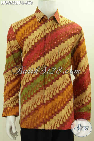 Hem Lengan Panjang Batik Solo, Pakaian Batik Istimewa Full Furing Motif Klasik Pria Tampil Gagah Mempesona Proses Cap Tulis [LP8322CTF-L]