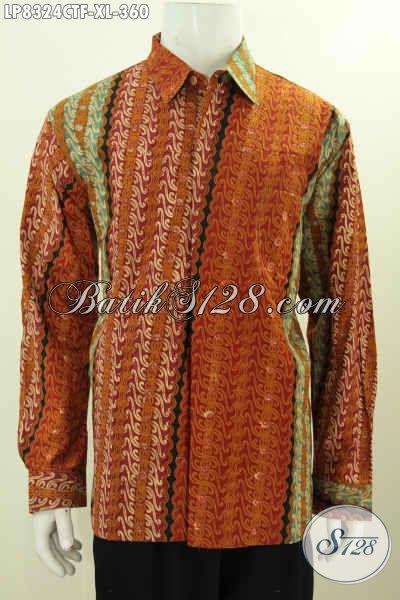 Sedia Baju Batik Solo Lengan Panjang, Hem Batik Mewah Full Furing Motif Klasik Proses Cap Tulis spesial Buat Pria Dewasa [LP8324CTF-XL]