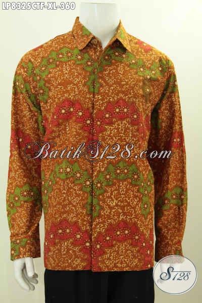 Hem Batik Pria Dewasa, Baju Batik Size XL Lengan Panjang Full Furing, Pakaian Batik Solo Cap Tulis Untuk Kerja Dan Rapat [LP8325CTF-XL]
