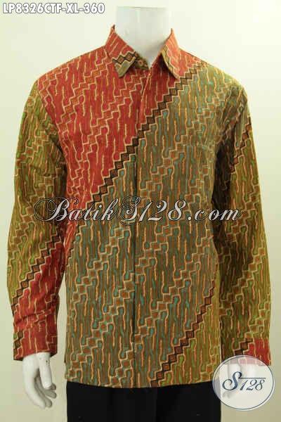 Batik Hem Solo Lengan Panjang Istimewa Full Furing, Kemeja Batik Proses Cap Tulis Motif Klasik, Cocok Banget Buat Kondangan, Size XL