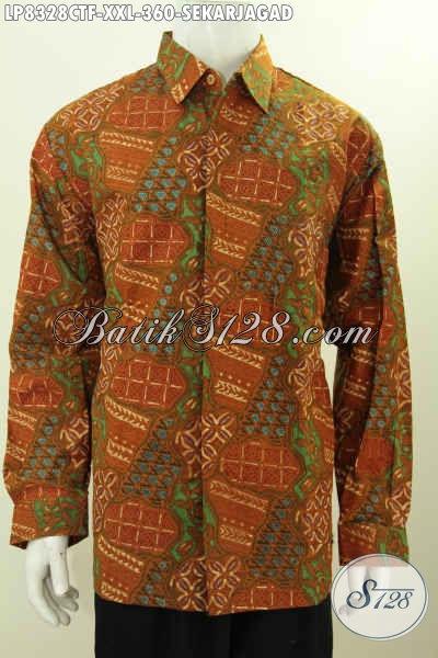 Baju Batik Pria Gemuk Motif Sekarjagad, Hem Batik Kwalitas Bagus Full Furing Lengan Panjang Proses Cap Tulis Harga 300 Ribuan [LP8328CTF-XXL]