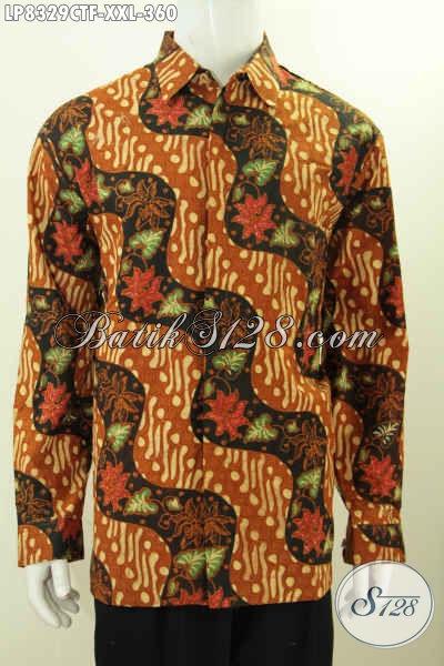 Sedia Hem Batik Jumbo 3L, Baju Batik Klasik Spesial Untuk Lelaki Gemuk Tampil Gagah Berkelas, Model Lengan Panjang Full Furing [LP8329CTF-XXL]