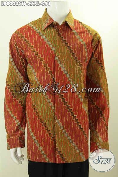 Baju Batik Klasik Super Jumbo, Pakaian Batik Lengan Panjang Full Furing Untuk Pria Yang Gemuk Sekali, Proses Cap Tulis [LP8330CTF-XXXL]