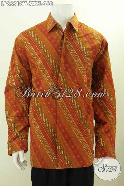 Pakaian Batik Solo Klasik 4L, Hem Batik Full Furing Lengan Panjang Proses Cap Tulis, Cocok Untuk Rapat Dan Kondangan [LP8331CTF-XXXL]