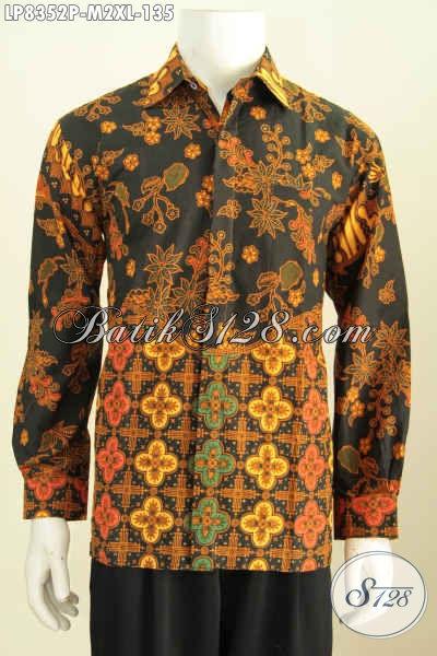 Produk Baju Batik Pria Lengan Panjang Elegan Dasar Hitam Proses Printing, Penampilan Lebih Gagah, Size M