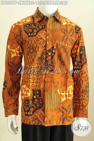 Hem Batik Printing Terkini, Baju Batik Lengan Panjang Pria Kwalitas Bagus Harga Murah Motif Klasik, Pas Buat Rapat [LP8357P-XL , XXL]
