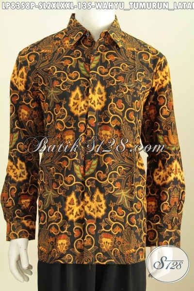 Hem Batik Printing Wahyu Tumurun, Kemeja Batik Klasik Lengan Panjang, Elegan Untuk Acara Resmi, Size S