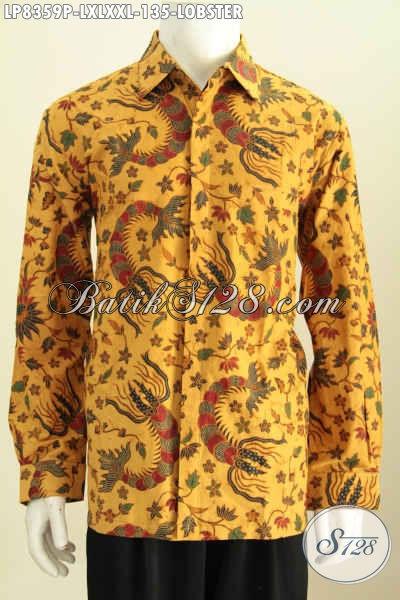 Batik Hem Motif Lobster, Kemeja Batik Halus Proses Printing Size XL Untuk Pria Dewasa Harga 135K, Model Lengan Panjang