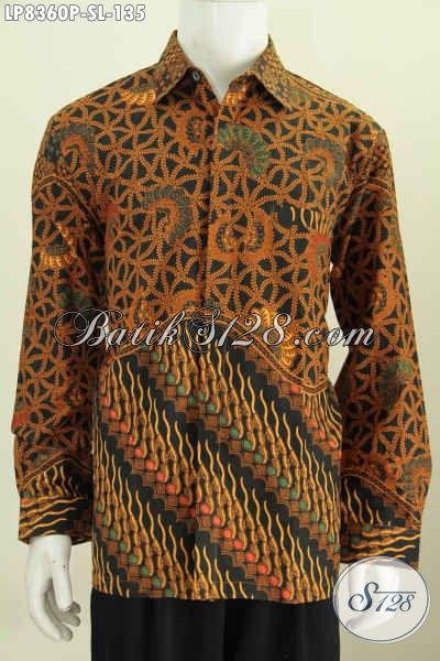 Jual Baju Batik Istimewa, Pakaian Batik Solo Jawa Tengah Nan Modis Bahan Adem Proses Printing Kombiansi 2 Motif, Tampil Gagah Berkelas, Size S