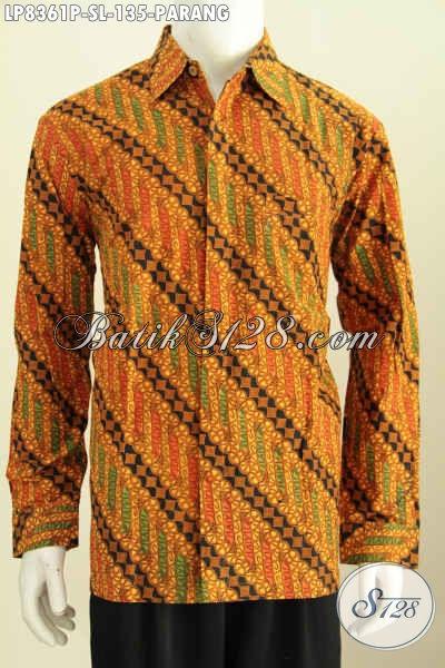 Baju Batik Pria Modern Lengan Panjang Motif Parnag  Bahan Adem Kwalitas Istimewa Proses Printing Hanya 100 Ribuan [LP8361P-S]