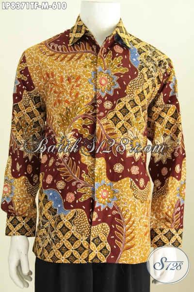 Model Baju Batik Pria Lengan Panjang 2017, Hadir Dengan Motif Mewah Proses Tulis Bahan Halus Daleman Full Furing Tampil Lebih Percaya Diri [LP8371TF-M]
