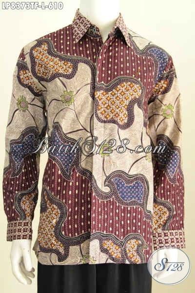 Baju Batik Premium Size L, Model Baju Batik Pria Lengan Panjang Terbaru Bahan Adem Proses Tulis Motif Terkini Daleman Full Furing [LP8373TF-L]