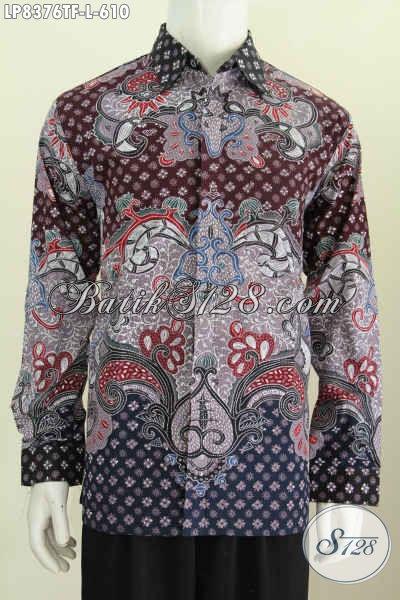 Baju Batik Lengan Panjang Untuk Pria, Kemeja Batik Mewah Motif Klasik Proses Tulis, Hem Batik Kerja Full Furing Harga 610K [LP8376TF-L]