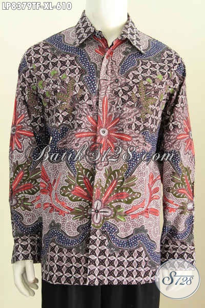 Hem Kerja Bahan Batik Mewah Solo Jawa Tengah Model Lengan Panjang Proses Tulis Pakai Furing, Tampil Gagah Mempesona, Size XL