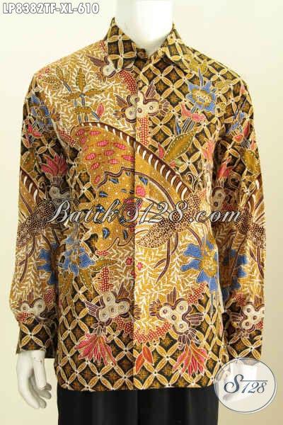 Baju Batik Pria Lengan Panjang Full Furing, Busana Batik Premium Proses Tulis Motif Klasik Tampil Gagah Dan Tampan [LP8382TF-XL]