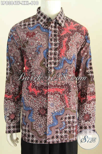 Hem Batik Premium Big Size, Kemeja Resmi Lengan Panjang Full Furing Motif Klasik Untuk Pria Gemuk