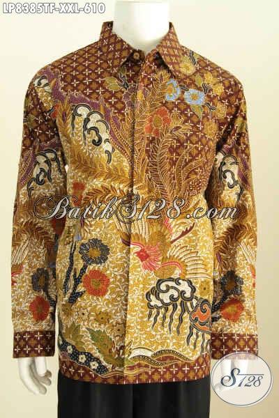 Baju Batik Mahal Pria Gemuk Full Furing, Pakaian Batik Mewah Halus Nan Istimewa Harga 610 Ribu Motif Proses Tulis, Size XXL