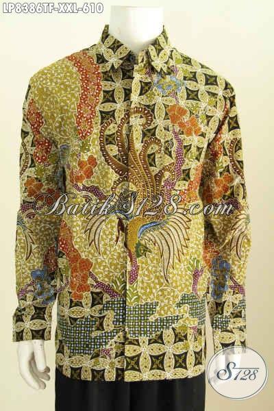 Sedia Hem Batik Kerja Elegan Lengan Panjang, Baju Batik Tulis Full Furing Halus Nan Istimewa Untuk Penampilan Mempesona Dan Berwibawa, Size XXL