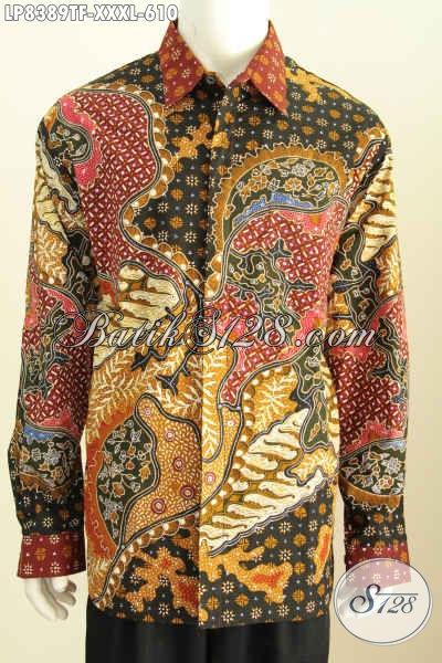 Kemeja Lengan Panjang Mewah Bahan Batik Tulis Size XXXL, Busana Batik Solo Elegan Untuk Pria Gemuk Terlihat Tampan