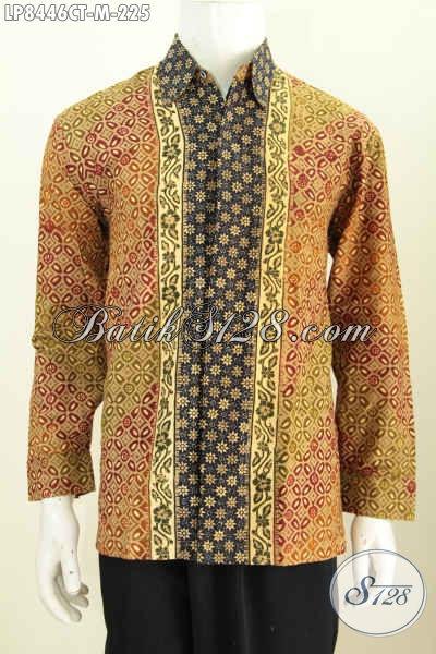 Kemeja Batik Lengan Panjang Elegan, Baju Batik Pria Online Shop Bahan Halus Motif Kombinasi Proses Cap Tulis 200 Ribuan [LP8446CT-M]
