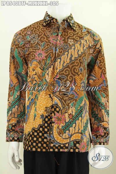 Baju Batik Klasik Lengan Panjang Halus Full Furing, Pakaian Batik Pria Muda Dan Dewasa Proses Kombinais Tulis Tampil Berkelas Hanya Dengan 300 Ribuan [LP8540BTF-XL]