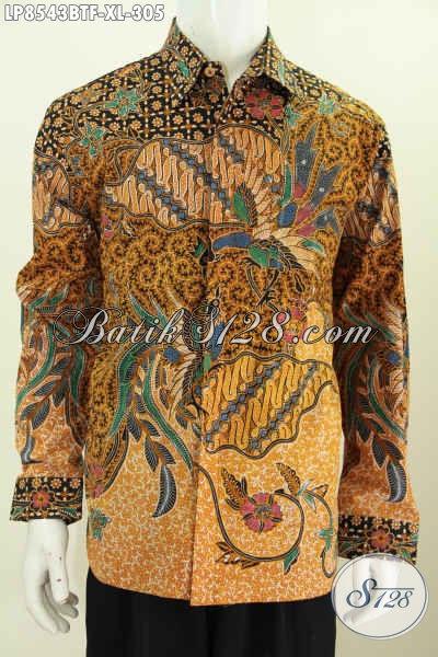 Hem Batik Pria Dewasa, Kemeja Batik Solo Istimewa Lengan Panjang Full Furing Motif Klasik Kombinasi Tulis, Tampil Gagah Berwibawa [LP8543BTF-XL]