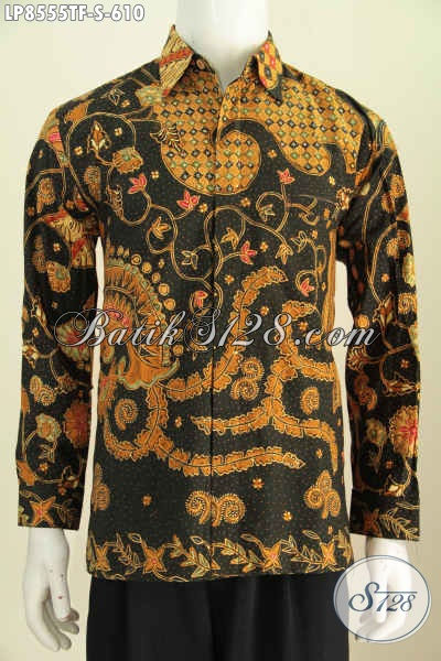 Model Baju Batik Lengan Panjang Pria 2017, Hem Batik Solo Halus Premium Proses Tulis Daleman Full Furing Harga 610K [LP8555TF-S]