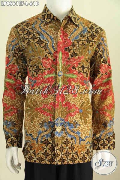 Motif Baju Batik Pria Lengan Panjang Terkini, Busana Batik Solo Premium Proses Tulis Tangan Ful l Furing Untu Lelaki Terlihat Menawan Dan Gagah [LP8561TF-L]