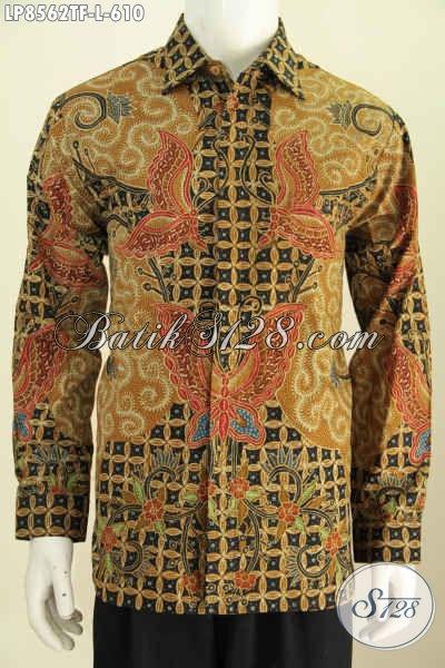 Batik Hem Klasik Elegan Dengan Kombinasi Motif Kupu, Pakaian Batik Solo Tulis Asli Model Lengan Panjang Full Furing, Pas Untuk Rapat [LP8562TF-L]