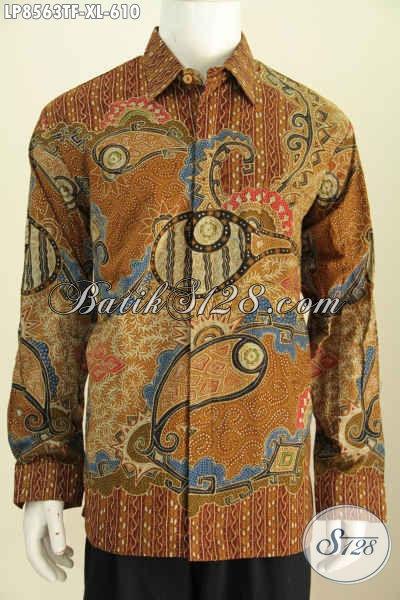 Batik Hem Pria Dewasa Lengan Panjang Full Furing, Pakaian Batik Berkelas Proses Tulis, Bisa Untuk Kerja Dan Rapat [LP8563TF-XL]
