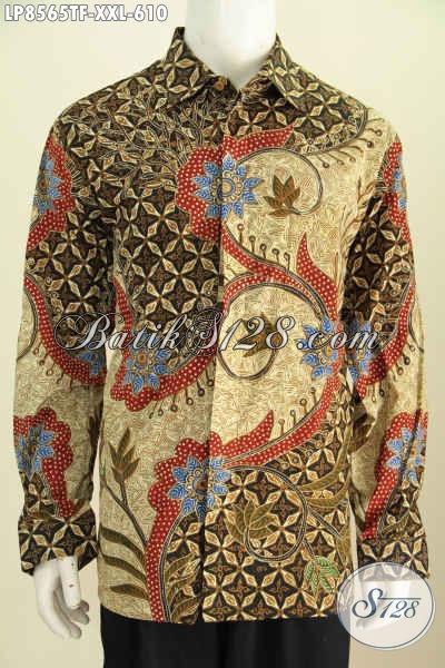 Model Baju Kemeja Batik Pria Lengan Panjang Ukuran 3L, Hem Batik Pria Gemuk Motif Tulis Asli Harga 610 Daleman Full Furing [LP8565TF-XXL]