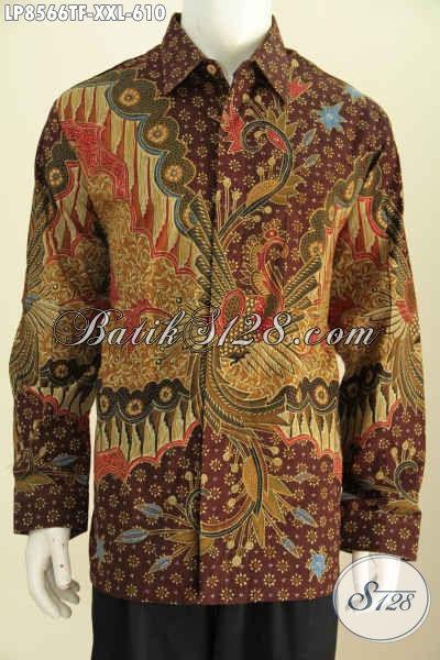 Batik Hem Pria Gemuk, Kemeja Batik Solo Lengan Panjang Premium Cocok Untuk Seragam Kerja Dan Rapat Tampil Berwibawa [LP8566TF-XXL]