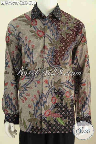 Batik Hem Istimewa Spesial Untuk Lelaki Gemuk, Baju Batik Lengan Panjang Full Furing 3L Buatan Solo Di Jual Online 610K [LP8567TF-XXL]