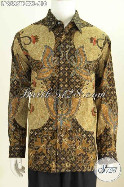 Baju Batik Hem Motif Klasik Kombinasi Kupu, Kemeja Batik Pria Premium Proses Tulis Pake Furing, Tampil Lebih Sempurna [LP8568TF-XXL]