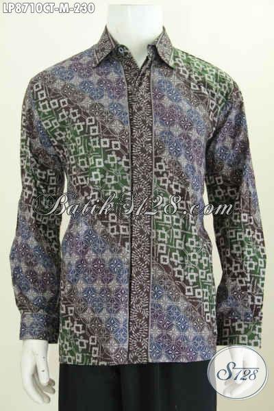 Kemeja Lengan Panjang Kwalitas Premium, Hem Batik Non Furing Motif Klasik Cap Tulis, Buat Rapat Pas Banget, Size M