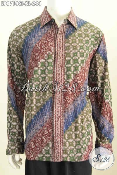 Baju Batik Lengan Panjang Pria Terbaru Yang Elegan Untuk Kerja Serta Berkelas Untuk Acara Formal Motif Klasik Proses Cap Tulis Harga 200 Ribuan [LP8716CT-XL]