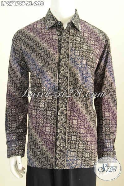 Batik Hem Pria Dewasa Halus Motif Klasik Buatan Solo Asli, Baju Batik Lengan Panjang Untuk Pria Proses Cap Tulis, Tampil Gagah Dan Tampan Maksimal [LP8717CT-XL]