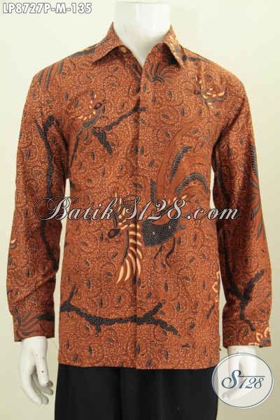 Baju Batik Printing Pria Lengan Panjang, Kemeja Batik Klasik Untuk Kerja Dan Rapat, Busana Batik Elegan Bikin Pria Terlihat Berkelas [LP8727P-M]