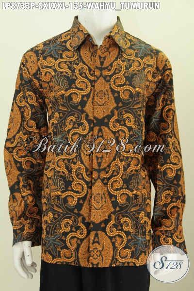 Batik Hem Solo Lengan Panjang Istimewa, Pakaian Batik Klasik Wahyu Tumurun Proses Printing, Pas Buat Kondangan, Size S