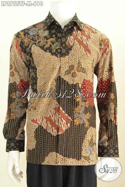 Baju Batik Pria Modern Lengan Panjang, Hem Batik Solo Istimewa Full Furing Motif Mewah Tulis Asli Yang Bikin Penampilan Berkelas Dan Mempesona [LP8755TF-M]