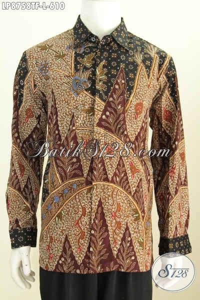 Baju Batik Pria Lengan Panjang Mewah, Busana Batik Bagus Berkelas Dan Full Furing Motif Terkini Proses Tulis Harga 610K [LP8758TF-L]